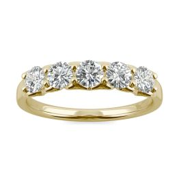 0.84 CTW DEW Round Forever One Moissanite Five Stone Moissanite Wedding Band Ring 14K Yellow Gold