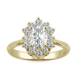 1.35 CTW DEW Oval Forever One Moissanite Signature Oval Halo Ring 14K Yellow Gold