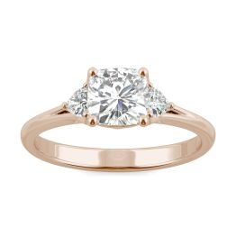 1.20 CTW DEW Cushion Forever One Moissanite Hearts & Arrows Cushion Three Stone Ring 14K Rose Gold