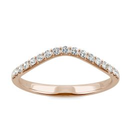 0.22 CTW DEW Round Forever One Moissanite Curved Classic Wedding Ring 14K Rose Gold