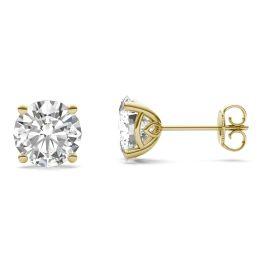3.84 CTW DEW Round Forever One Moissanite Basket Stud Earrings 14K Yellow Gold