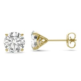 3.20 CTW DEW Round Forever One Moissanite Martini Stud Earrings 14K Yellow Gold