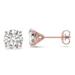 3.20 CTW DEW Round Forever One Moissanite Martini Stud Earrings 14K Rose Gold