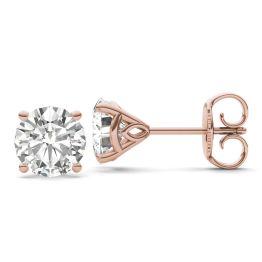 3.84 CTW DEW Round Forever One Moissanite Martini Stud Earrings 14K Rose Gold