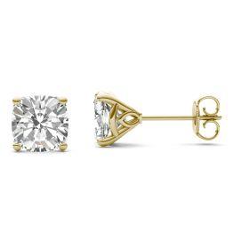 3.16 CTW DEW Cushion Forever One Moissanite Signature Martini Moissanite Stud Earrings 14K Yellow Gold