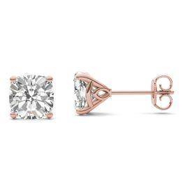 3.16 CTW DEW Cushion Forever One Moissanite Signature Martini Moissanite Stud Earrings 14K Rose Gold