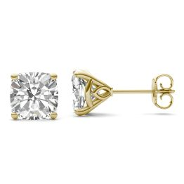 3.82 CTW DEW Cushion Forever One Moissanite Signature Martini Moissanite Stud Earrings 14K Yellow Gold
