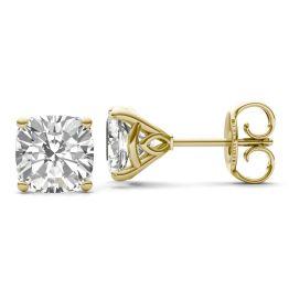 4.57 CTW DEW Cushion Forever One Moissanite Signature Martini Moissanite Stud Earrings 14K Yellow Gold