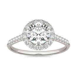 1.33 CTW DEW Round Forever One Moissanite Signature Halo with Side Accents Engagement Ring 14K White Gold, SIZE 8.0