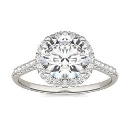 2.25 CTW DEW Round Forever One Moissanite Signature Halo with Side Accents Engagement Ring 14K White Gold