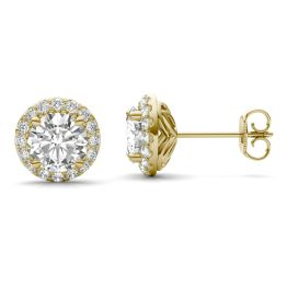2.40 CTW DEW Round Forever One Moissanite Halo Earrings 14K Yellow Gold