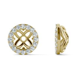0.32 CTW DEW Round Forever One Moissanite Signature Floret Earring Jackets Earrings 14K Yellow Gold