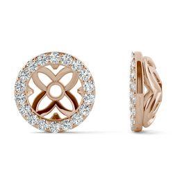 0.36 CTW DEW Round Forever One Moissanite Signature Floret Earring Jackets Earrings 14K Rose Gold