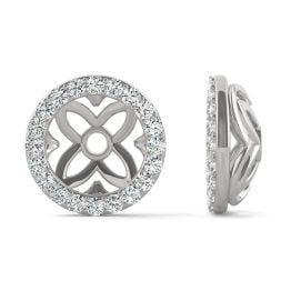 0.40 CTW DEW Round Forever One Moissanite Signature Floret Earring Jackets Earrings 14K White Gold