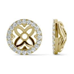 0.40 CTW DEW Round Forever One Moissanite Signature Floret Earring Jackets Earrings 14K Yellow Gold