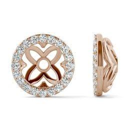 0.40 CTW DEW Round Forever One Moissanite Signature Floret Earring Jackets Earrings 14K Rose Gold
