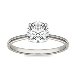 1.05 CTW DEW Round Forever One Moissanite Signature Four Prong Solitaire Ring 14K White Gold