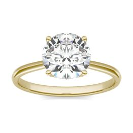 1.93 CTW DEW Round Forever One Moissanite Signature Four Prong Solitaire Ring 14K Yellow Gold