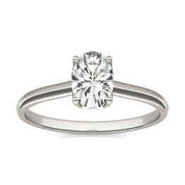 0.91 CTW DEW Oval Forever One Moissanite Signature Oval Solitaire Ring 14K White Gold