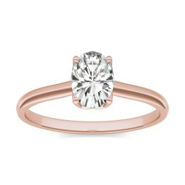 0.91 CTW DEW Oval Forever One Moissanite Signature Oval Solitaire Ring 14K Rose Gold