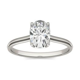 1.51 CTW DEW Oval Forever One Moissanite Signature Oval Solitaire Ring 14K White Gold