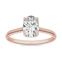 1.51 CTW DEW Oval Forever One Moissanite Signature Oval Solitaire Ring 14K Rose Gold