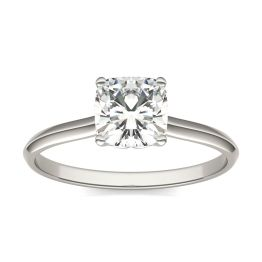 1.02 CTW DEW Cushion Forever One Moissanite Signature Cushion Solitaire Ring 14K White Gold