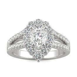 1.66 CTW DEW Pear Forever One Moissanite Signature Halo Split Shank Engagement Ring 14K White Gold
