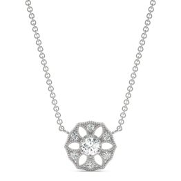 0.16 CTW DEW Round Forever One Moissanite Signature Filigree Necklace 14K White Gold