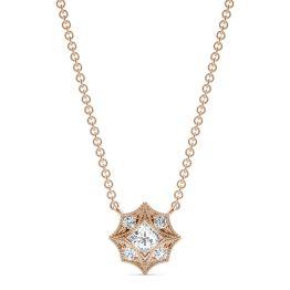 0.24 CTW DEW Square Forever One Moissanite Signature Milgrain Necklace 14K Rose Gold