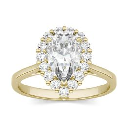 1.80 CTW DEW Pear Forever One Moissanite Halo Engagement Ring 14K Yellow Gold