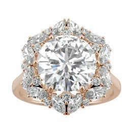 5.11 CTW DEW Round Forever One Moissanite Signature Halo Hearts & Arrows Statement Ring 14K Rose Gold