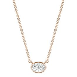 0.51 CTW DEW Oval Forever One Moissanite Signature Bezel Necklace 14K Rose Gold