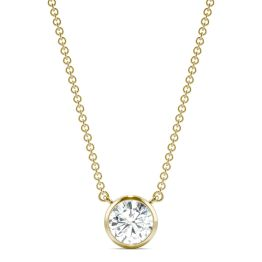 0.81 CTW DEW Round Forever One Moissanite Signature Bezel Necklace 14K Yellow Gold