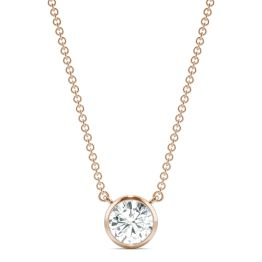 0.81 CTW DEW Round Forever One Moissanite Signature Bezel Necklace 14K Rose Gold