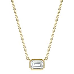 0.59 CTW DEW Emerald Forever One Moissanite Signature Bezel Necklace 14K Yellow Gold