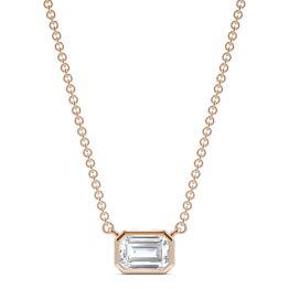 0.59 CTW DEW Emerald Forever One Moissanite Signature Bezel Necklace 14K Rose Gold