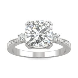 2.54 CTW DEW Cushion Forever One Moissanite Solitaire with Side Accents Engagement Ring 14K White Gold