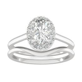 1.07 CTW DEW Oval Forever One Moissanite Signature Halo Bridal Set Ring 14K White Gold