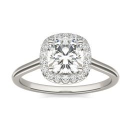 1.48 CTW DEW Cushion Forever One Moissanite Signature Halo Engagement Ring 14K White Gold