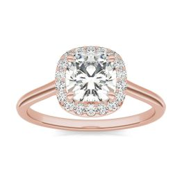 1.48 CTW DEW Cushion Forever One Moissanite Signature Halo Engagement Ring 14K Rose Gold