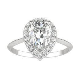 1.71 CTW DEW Pear Forever One Moissanite Signature Halo Engagement Ring 14K White Gold