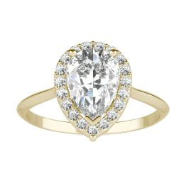 1.71 CTW DEW Pear Forever One Moissanite Signature Halo Engagement Ring 14K Yellow Gold