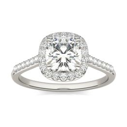 1.60 CTW DEW Cushion Forever One Moissanite Signature Halo with Side Stones Ring 14K White Gold