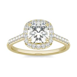 1.60 CTW DEW Cushion Forever One Moissanite Signature Halo with Side Stones Ring 14K Yellow Gold