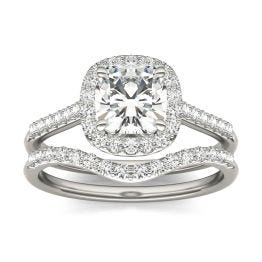 1.76 CTW DEW Cushion Forever One Moissanite Signature Halo with Sides Bridal Ring 14K White Gold