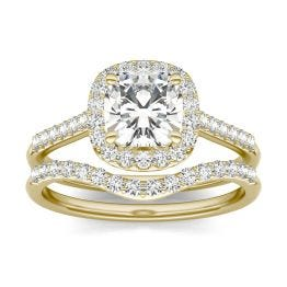 1.76 CTW DEW Cushion Forever One Moissanite Signature Halo with Sides Bridal Ring 14K Yellow Gold