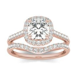 1.76 CTW DEW Cushion Forever One Moissanite Signature Halo with Sides Bridal Ring 14K Rose Gold