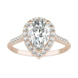 1.83 CTW DEW Pear Forever One Moissanite Signature Halo with Side Stones Engagement Ring 14K Rose Gold