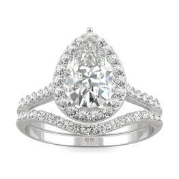 1.99 CTW DEW Pear Forever One Moissanite Signature Halo with Site Stones Bridal Set Ring 14K White Gold